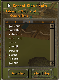 Recent clan chats listing in the clan chat tab
