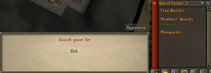 Quest search dialog